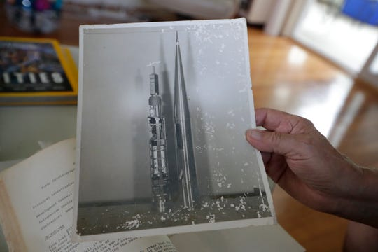 A photograph of a rocket that Santo Sapuppo, an electrical project engineer for NASA, had a part in creating. Sapuppo built the internal electronics for the experiment.