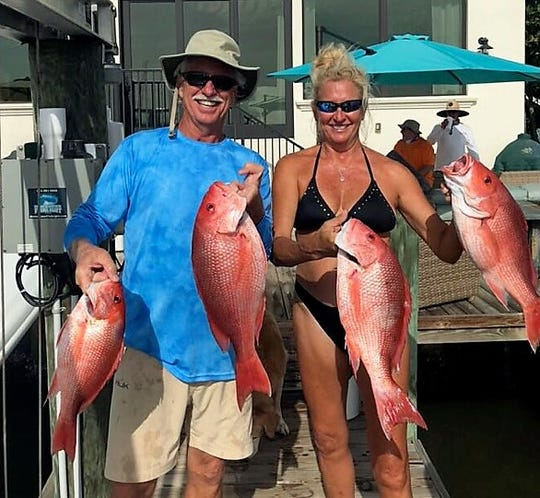 Mike and Suzy Richards of Fort Pierce with their red snapper catch from the opening weekend of the 2019 red snapper season.