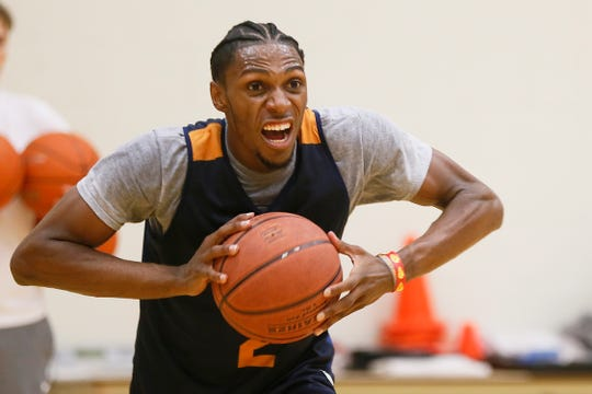 UTEP's Jordan Lathon practices Thursday, July 18, 2019, at the Foster Stevens Basketball Center in El Paso.