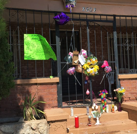 A memorial for Santana Jazmine Marie Castro has been set up outside the North Piedras Street home where she was killed on July 13, 2019.