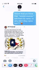A screenshot from July 12, 2019, between SISD board President Cynthia Najera, in blue, and SISD Superintendent José Espinoza regarding media coverage of a physical altercation Espinoza was involved in the previous month while in San Antonio.