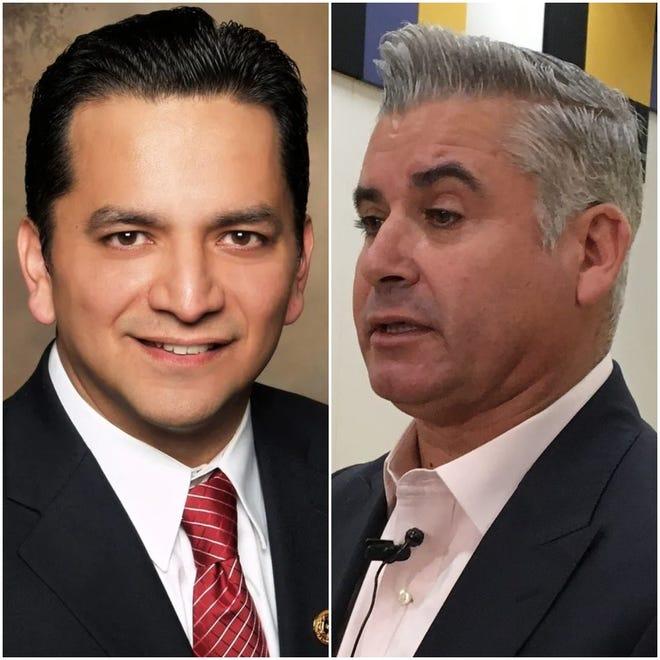 Socorro ISD Superintendent José Espinoza, left, and Ysleta ISD Superintendent Xavier De La Torre