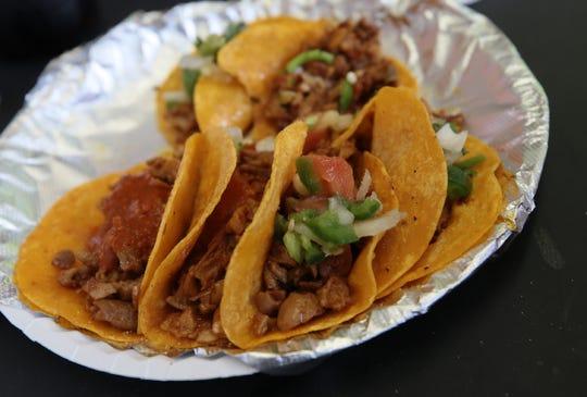 Tacos de tripitas from Sabroso food truck in Downtown El Paso.