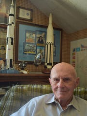 Engineer Vince Wheelock shares memories of Apollo 11 in his Westlake Village home.