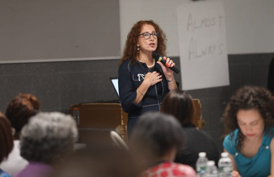 New Superintendent Dr. Laura Feijoo answers questions from the community during a meeting sponsored by the New Rochelle school district at New Rochelle High School on July 17, 2019.