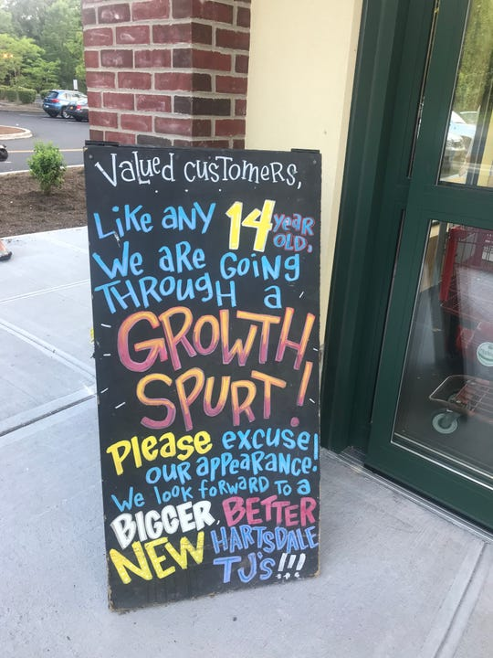 The sign at Trader Joe's warns of changes. Photographed July 14, 2019.