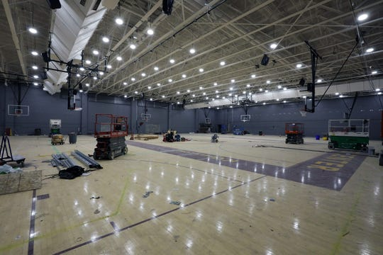 The basketball gym under renovation at the Hynes Athletic Center at Iona College, is pictured July 18, 2019.