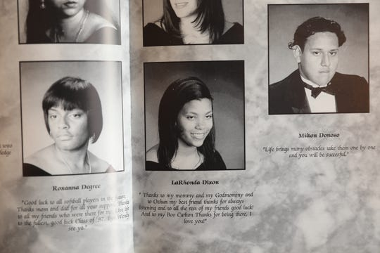 La Rhonda Jefferson, center, in the Charles E. Gorton High School 1997 yearbook. Jefferson, formerly Dixon, grew up on the southwest side of Yonkers and had to take the public bus to Gorton.