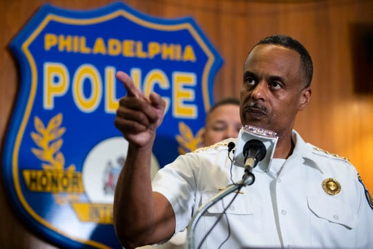 Philadelphia Police Commissioner Richard Ross speak during a news conference in Philadelphia, Thursday, July 18, 2019. The Philadelphia Police Department is suspending 13 police officers with an intent to fire them following an investigation into offensive and sometimes threatening Facebook posts.