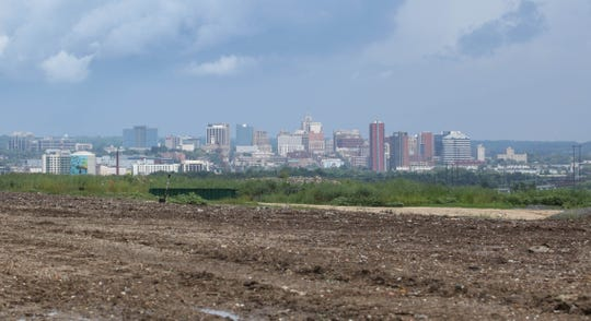 The Wilmington skyline visible from atop the New Castle landfill in Delaware.