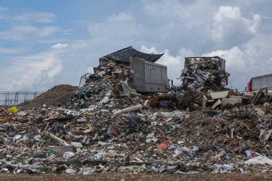 Waste is dumped at the Minquadale landfill in July 2019.
