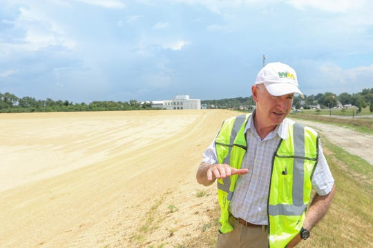John Hambrose, the Mid-Atlantic communications manager for Waste Management, visits the landfill in Minquadale in July 2019.