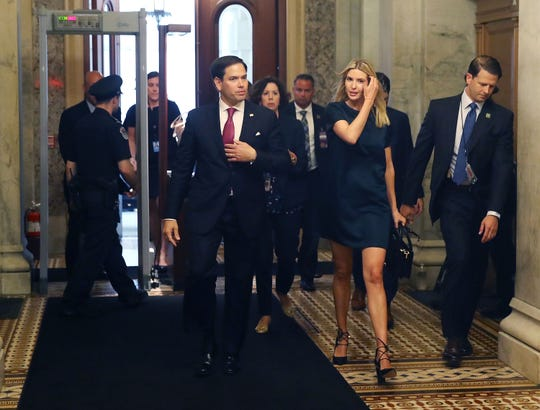 Ivanka Trump walks with Sen. Marco Rubio (R-FL), to a meeting with senators regarding paid family leave, at U.S. Capitol on June 20, 2017 in Washington, D.C.