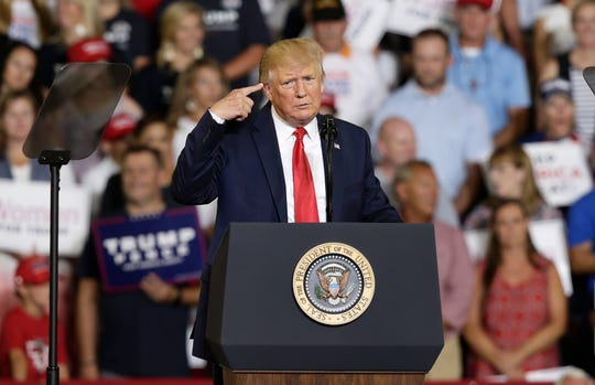 President Donald Trump in Greenville, North Carolina, on July 17, 2019.