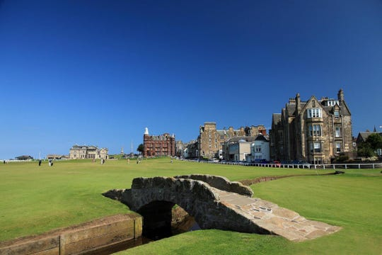 The famous Swilken Bridge between the first and 18th holes on the Old Course, St Andrews.