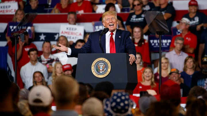 President Donald Trump speaks at a campaign rally at Williams Arena in Greenville, N.C.,  July 17, 2019.