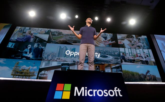 In this May 6, 2019, file photo Microsoft CEO Satya Nadella delivers the keynote address at Build, the company's annual conference for software developers in Seattle. Microsoft Corp. reports earnings Thursday, July 18, 2019.