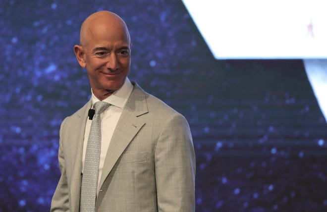 Amazon founder Jeff Bezos during the JFK Space Summit at the John F. Kennedy Presidential Library in Boston, Wednesday, June 19, 2019.