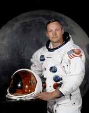 epa07672255 An undated handout photo made available by the National Aeronautics and Space Administration (NASA) shows the 'Apollo 11' lunar landing mission commander Neil A. Armstrong, posing in his space suit