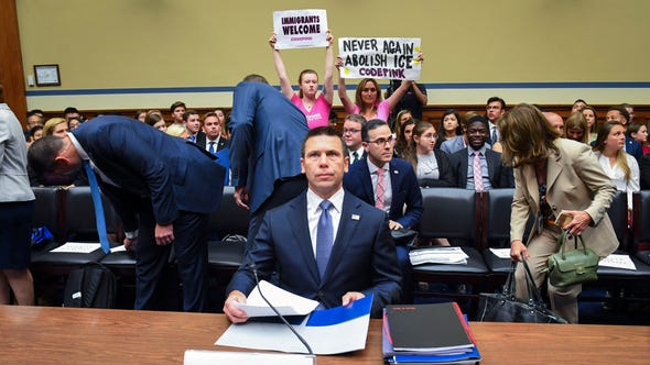 """Acting Homeland Security Sec. Kevin K. McAleenan testifies before the U.S. House of Representatives Committee on Oversight and Reform.  The committee scheduled the hearing to """"examine the Trump Administration's child separation policy, the treatment of immigrants detained in U.S. government facilities, and related issues."""""""