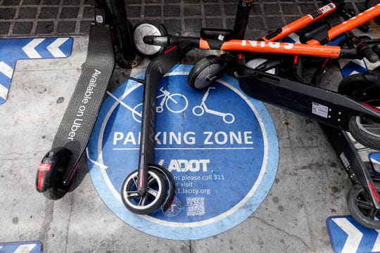 A parking zone for e-scooters in downtown L.A.