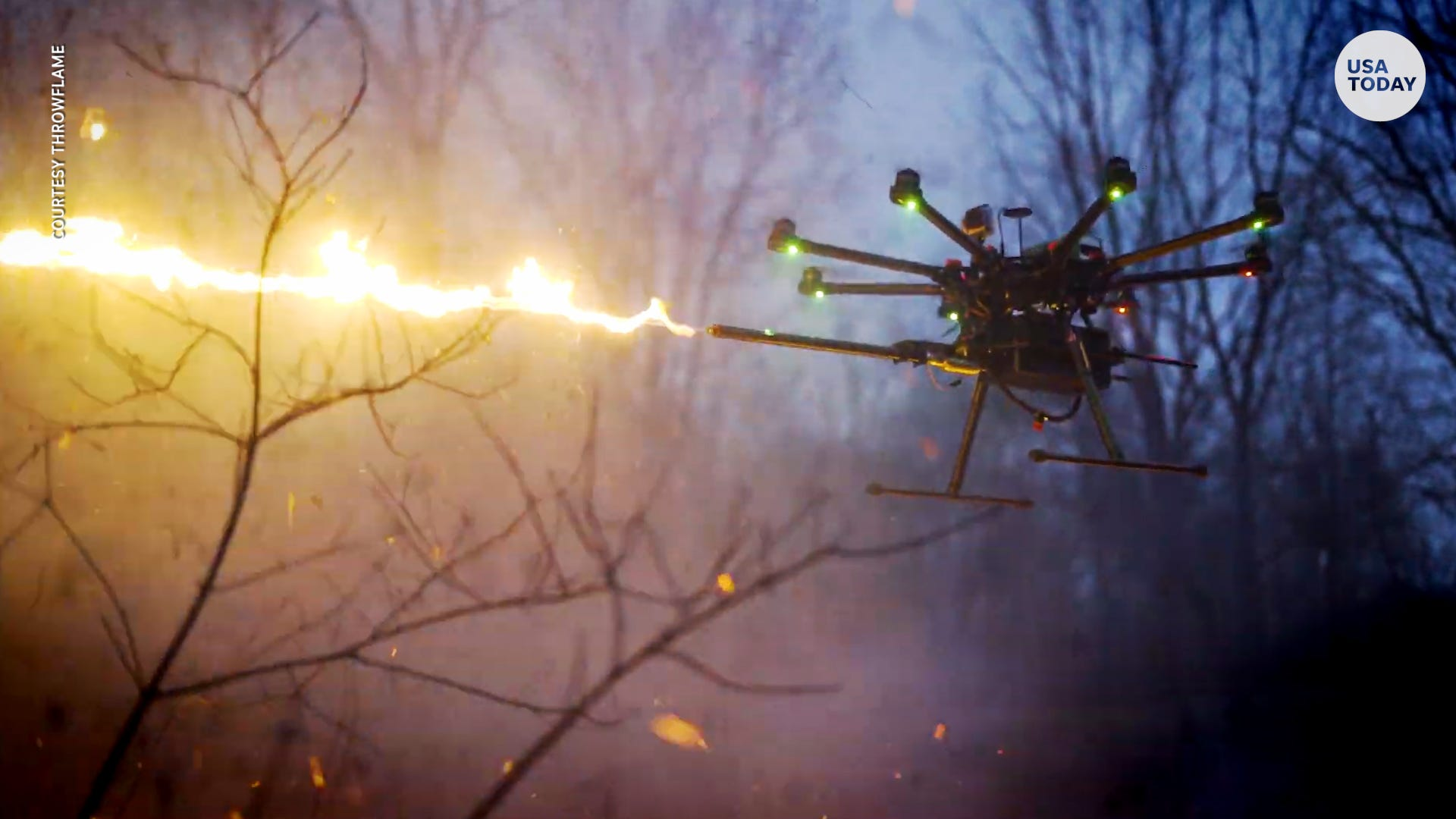 Flamethrower takes flight with drone attachment