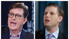 Stephen Colbert (left) and Eric Trump (right).