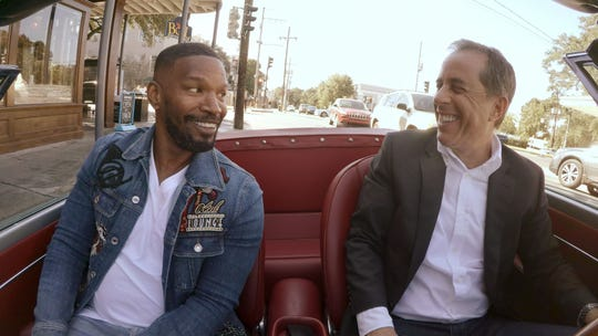 Jamie Foxx, left, rides with Jerry Seinfeld on an episode of Netflix's 'Comedians in Cars Getting Coffee.'
