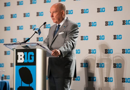 Big Ten commissioner Jim Delany addresses the media during the Big Ten football media day.