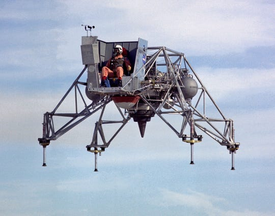 A NASA photograph of a Lunar Landing Training Vehicle from the late 1960s. The craft was powered by a single jet engine and mimicked the flight of the Lunar Module on the Moon's surface.