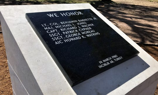The memorial to a Dyess C-130 crash almost 40 years that killed six crewmen and 12 passengers stands in its appropriate place at Dyess Memorial Park.