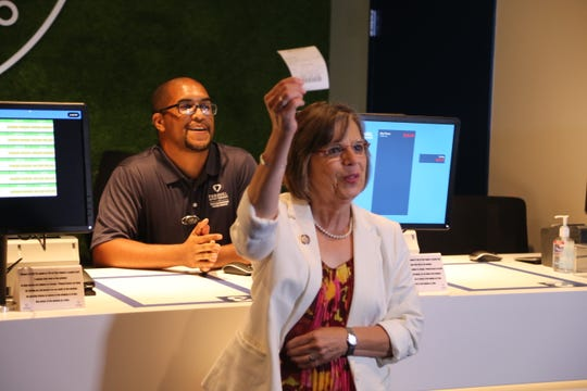 Assemblywoman Donna Lupardo, D-Endwell, placed the first wager at FanDuel Sportsbook.