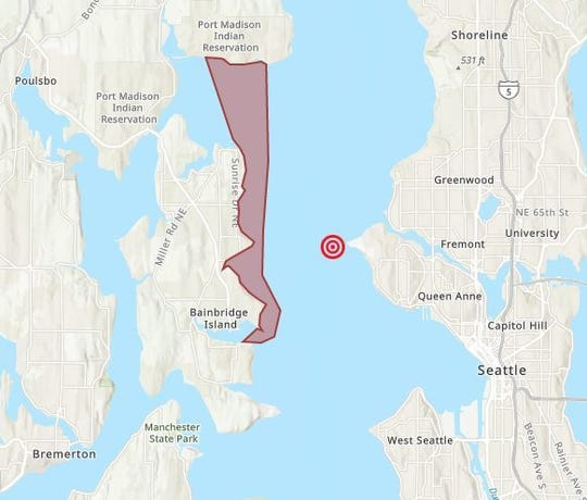 A no-contact advisory has been issued for the eastern shoreline of Bainbridge Island up to Indianola following a sewage spill in Seattle.