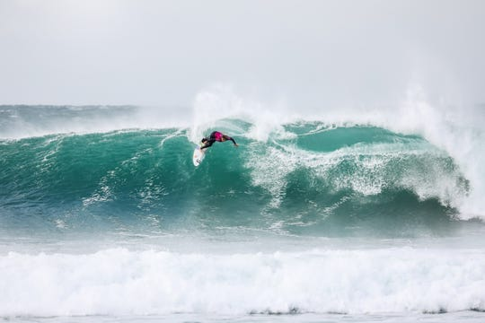 Caroline Marks of Melbourne Beach competes in her semifinal against Carissa Moore at J-Bay, South Africa.