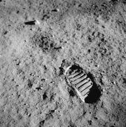 Footprint on the lunar surface from a photograph taken during the Apollo 11 mission.