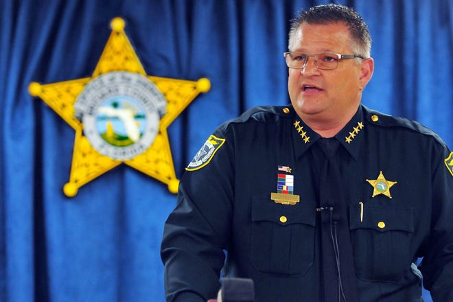 Brevard Sheriff Wayne Ivey (pictured) and former BCSO deputy Zachary Ferreira are accused of violating a man's civil and constitutional rights in relation to a 2018 traffic stop, according to a lawsuit filed with the Central Florida US district court.