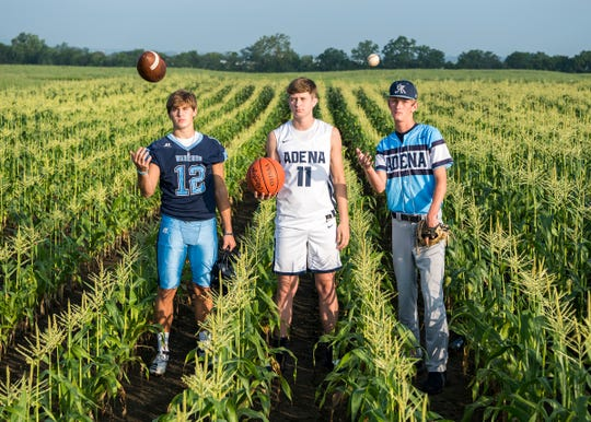 Adena High School finished in second place in the Scioto Valley Conference in football, basketball, and baseball during the last school year. Now, they look to make their field of dreams a reality and finish first in the SVC.  (L-R) Preston Sykes, Logan Bennett, and Jarrett Garrison. Photo taken at Garrison Farms.
