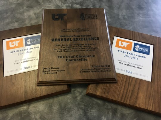 The Leaf-Chronicle won the 2019 General Excellence award at the University of Tennessee/Tennessee Press Association awards on Thursday, July 19, 2019.