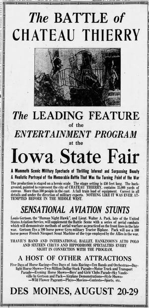 An ad for the spectacle of Chateau Thierry from the Des Moines Register, Aug. 15, 1919.
