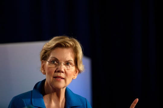 U.S. Sen. Elizabeth Warren, D-Mass., speaks at the AARP Presidential Forum at the Hotel at the Sioux City Convention Center in Sioux City, Iowa, on July 19, 2019.