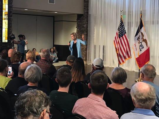 Sen. Elizabeth Warren speaks to a crowd of more than 200 in Orange City, Iowa, on July 19, 2019. Orange City is in the most conservative county in Iowa.