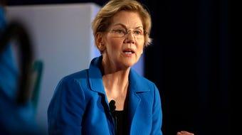 Sen. Elizabeth Warren, D-Mass., discusses caretaker compensation on July 19, 2019.