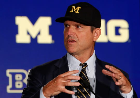 Michigan coach Jim Harbaugh speaks during the Big Ten media days on Friday, July 19, 2019, in Chicago.