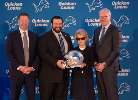 From left: Lions GM Bob Quinn, new coach Matt Patricia, owner Martha Ford and president Rod Wood at a news conference in Allen Park.