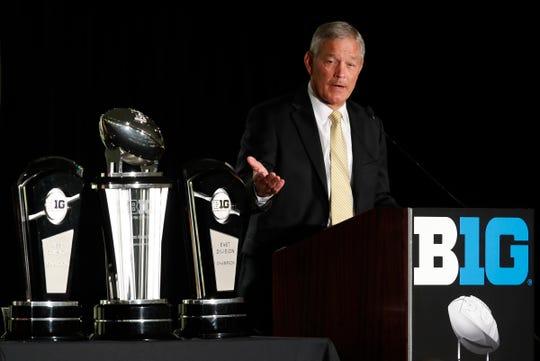Iowa Hawkeyes football coach Kirk Ferentz speaks during  Big Ten media days at Hilton Chicago.