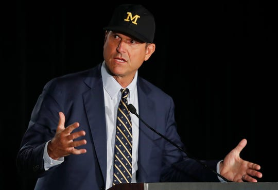 Michigan coach Jim Harbaugh speaks at the Big Ten Media Days on Friday, July 19, 2019, in Chicago.
