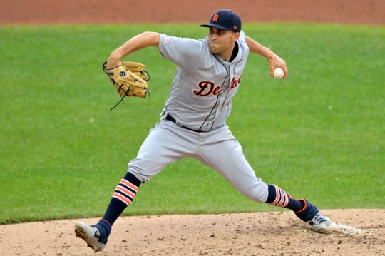 Detroit Tigers starting pitcher Matthew Boyd (48) delivers against the Cleveland Indians in the first inning at Progressive Field on Thursday, July 18, 2019, in Cleveland.