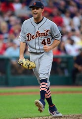 Detroit Tigers starting pitcher Matthew Boyd celebrates after striking out Cleveland Indians' Francisco Lindor during the fifth inning of a baseball game Thursday, July 18, 2019, in Cleveland.