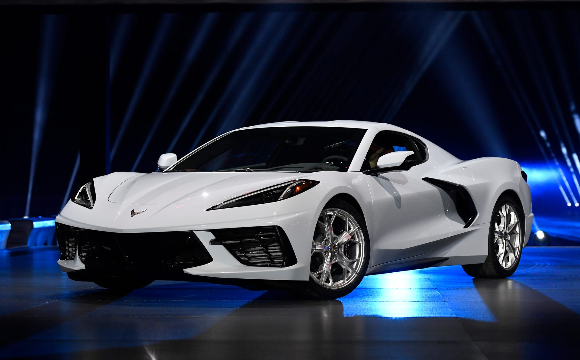 The 2020 mid-engine C8 Corvette Stingray by General Motors is unveiled during a news conference on July 18, 2019 in Tustin, California.