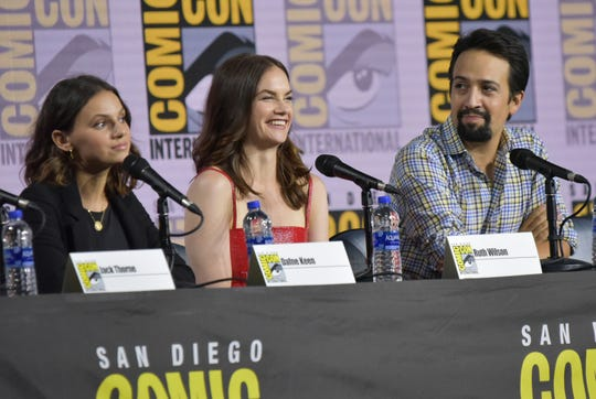 "Dafne Keen, from left, Ruth Wilson and Lin-Manuel Miranda participate in the ""His Dark Materials"" panel on day one of Comic-Con International on Thursday, July 18, 2019, in San Diego."